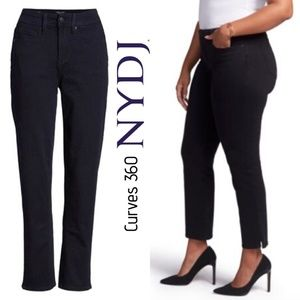 NYDJ CURVES 360 black slim straight leg ankle jean